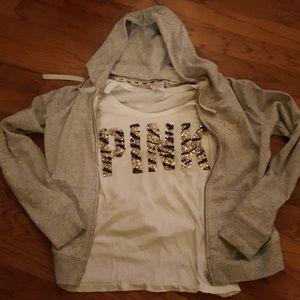 Victoria's secret PINK 2 piece shirt and jacket